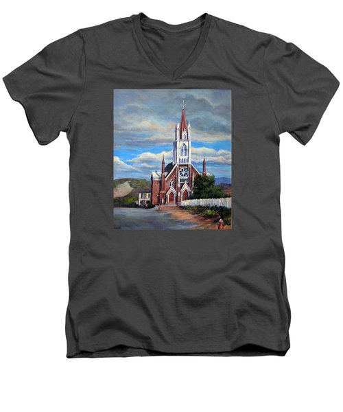 Men's V-Neck T-Shirt featuring the painting St. Mary Of The Mountains by Donna Tucker