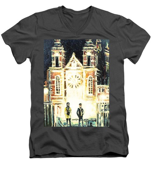 Men's V-Neck T-Shirt featuring the drawing St Nicolaaskerk Church by Linda Shackelford