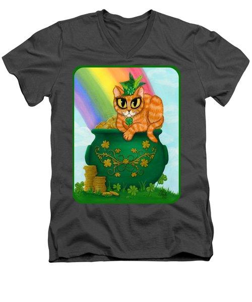 St. Paddy's Day Cat - Orange Tabby Men's V-Neck T-Shirt