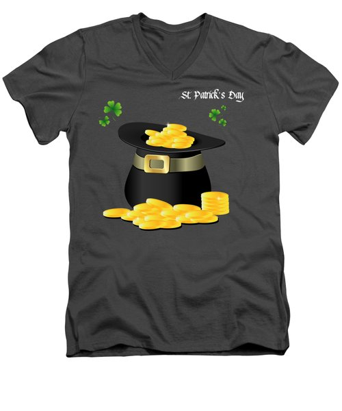 St. Patrick's Day Gold Coins In Hat Men's V-Neck T-Shirt by Serena King