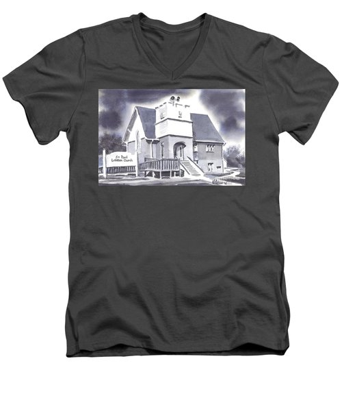 Men's V-Neck T-Shirt featuring the painting St Paul Lutheran With Ink by Kip DeVore