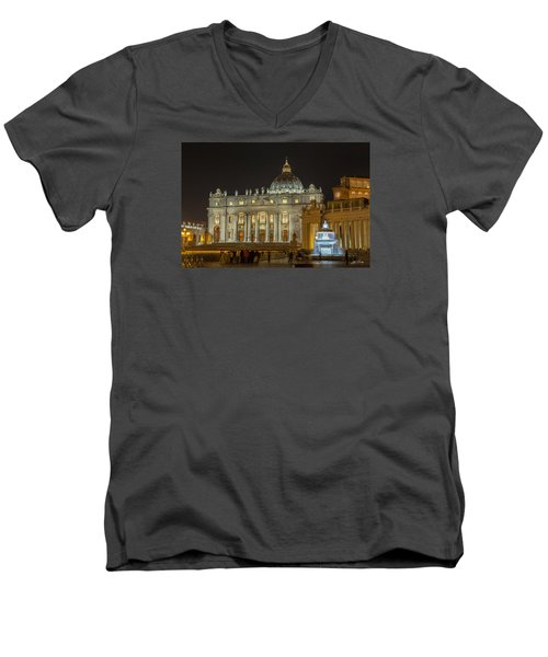 St. Peter Basilica Men's V-Neck T-Shirt by Ed Cilley