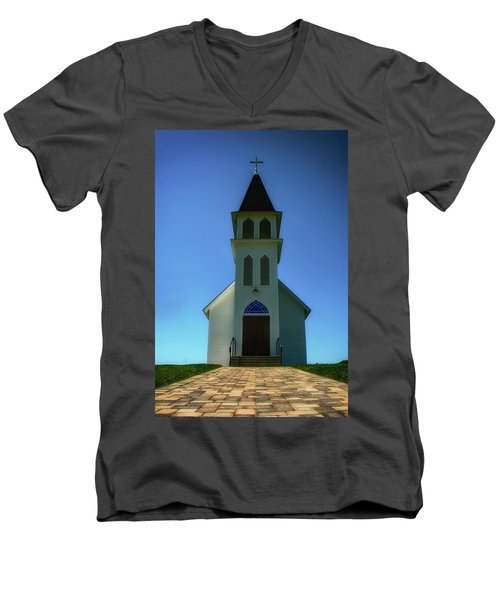Men's V-Neck T-Shirt featuring the photograph St. Peter's Church 2 by Joseph Hollingsworth