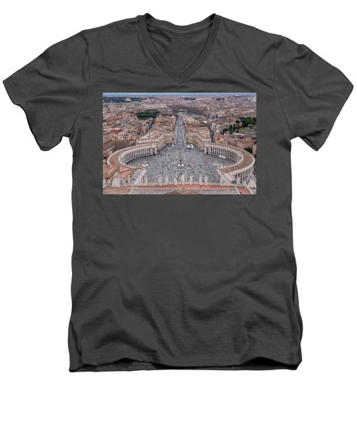 Men's V-Neck T-Shirt featuring the photograph St. Peter's Square by Sergey Simanovsky