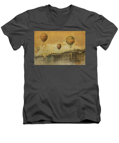 Men's V-Neck T-Shirt featuring the digital art St Petersburg With Air Baloons by Jeff Burgess