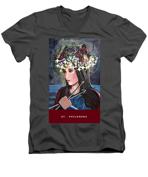 Men's V-Neck T-Shirt featuring the mixed media St. Philomena by Mary Ellen Frazee