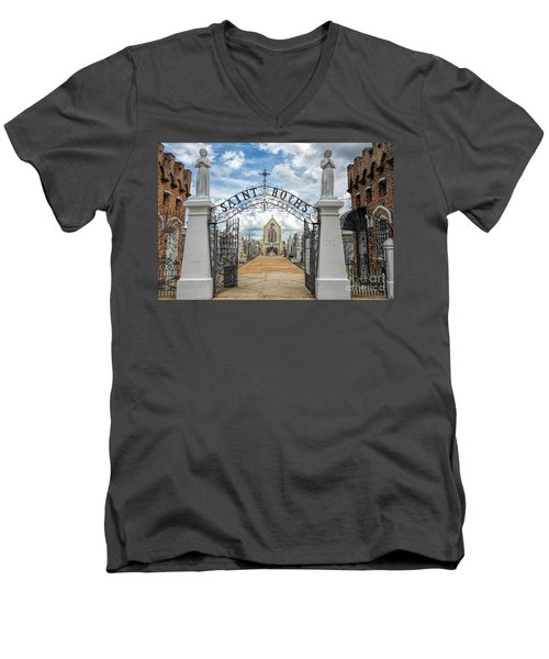 Men's V-Neck T-Shirt featuring the photograph St. Roch's Cemetery In New Orleans, Louisiana by Bonnie Barry