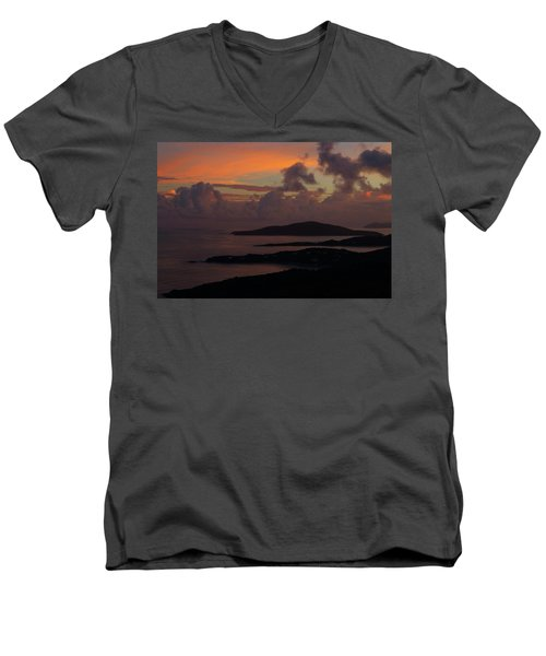Men's V-Neck T-Shirt featuring the photograph St Thomas Sunset At The U.s. Virgin Islands by Jetson Nguyen