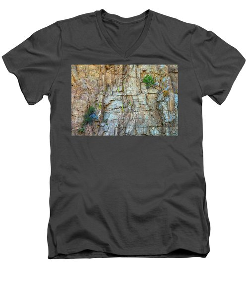 Men's V-Neck T-Shirt featuring the photograph St Vrain Canyon Wall by James BO Insogna