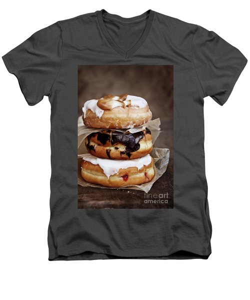 Stacked Donuts Men's V-Neck T-Shirt by Stephanie Frey