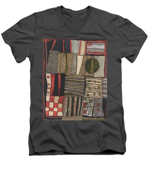 Stacked Shapes Men's V-Neck T-Shirt by Sandra Church