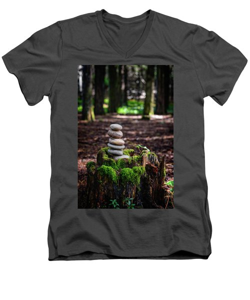 Men's V-Neck T-Shirt featuring the photograph Stacked Stones And Fairy Tales IIi by Marco Oliveira