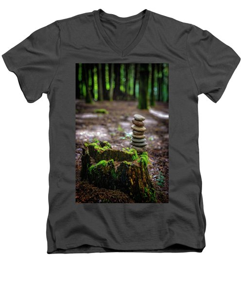 Men's V-Neck T-Shirt featuring the photograph Stacked Stones And Fairy Tales by Marco Oliveira