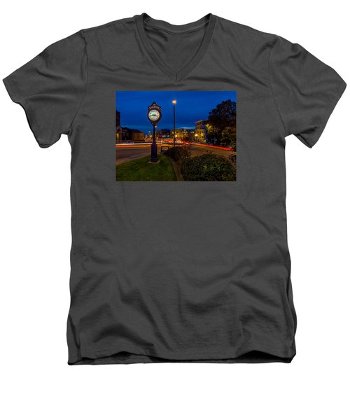 Stadium Clock During The Blue Hour Men's V-Neck T-Shirt by Rob Green