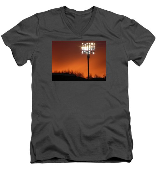 Men's V-Neck T-Shirt featuring the photograph Stadium Lights by RKAB Works