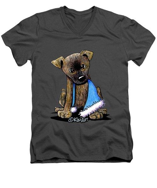 Staffordshire Bull Terrier Brindle Pup Men's V-Neck T-Shirt
