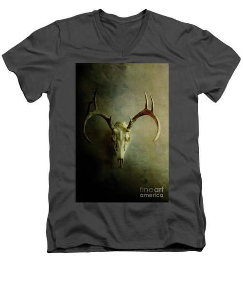 Men's V-Neck T-Shirt featuring the photograph Stag Skull by Stephanie Frey