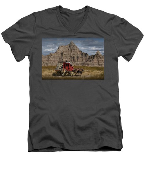 Stage Coach In The Badlands Men's V-Neck T-Shirt