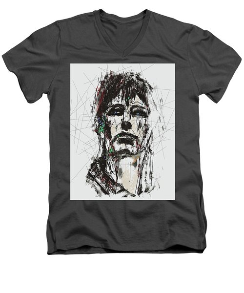 Men's V-Neck T-Shirt featuring the digital art Staggered Abstract Portrait by Galen Valle