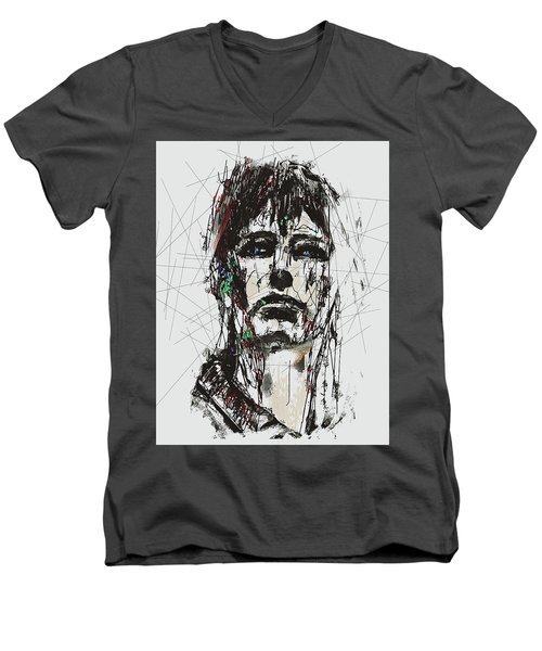 Staggered Abstract Portrait Men's V-Neck T-Shirt