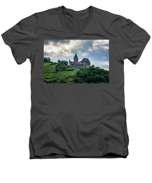 Men's V-Neck T-Shirt featuring the photograph Stahleck Castle by David Morefield
