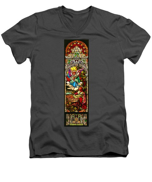 Men's V-Neck T-Shirt featuring the photograph Stained Glas Scene 7 by Adam Jewell