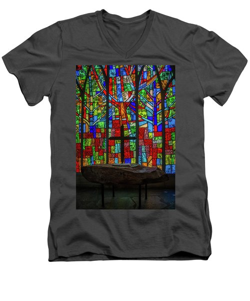 Stained Glass And Stone Altar Men's V-Neck T-Shirt