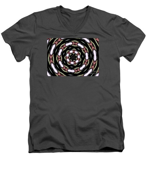 Men's V-Neck T-Shirt featuring the photograph Stained Glass Kaleidoscope 12 by Rose Santuci-Sofranko