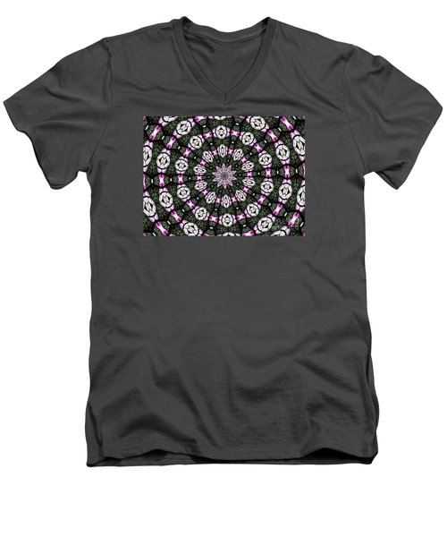 Men's V-Neck T-Shirt featuring the photograph Stained Glass Kaleidoscope 3 by Rose Santuci-Sofranko