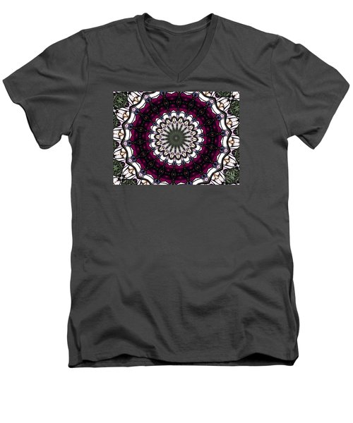 Men's V-Neck T-Shirt featuring the photograph Stained Glass Kaleidoscope 4 by Rose Santuci-Sofranko
