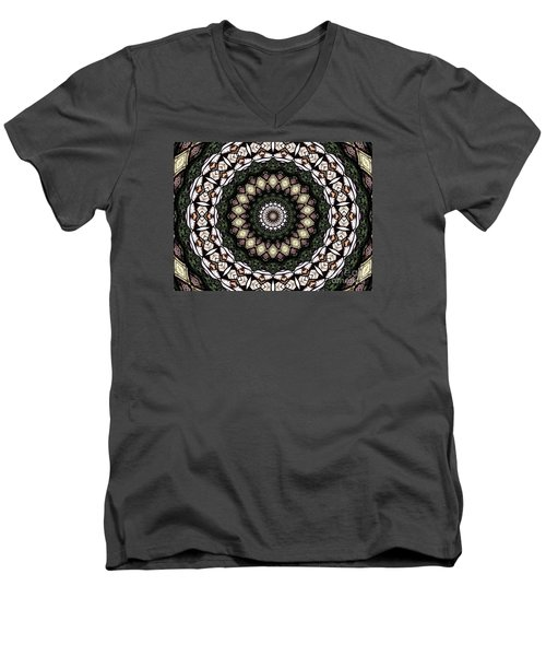 Men's V-Neck T-Shirt featuring the photograph Stained Glass Kaleidoscope 6 by Rose Santuci-Sofranko