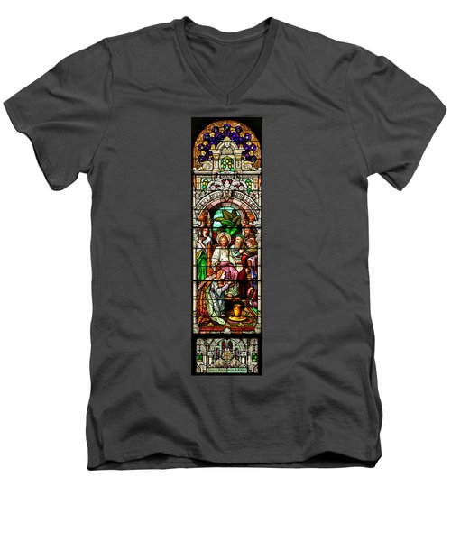 Men's V-Neck T-Shirt featuring the photograph Stained Glass Scene 11 by Adam Jewell