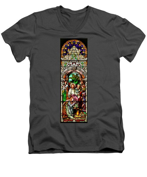 Men's V-Neck T-Shirt featuring the photograph Stained Glass Scene 11 Crop by Adam Jewell