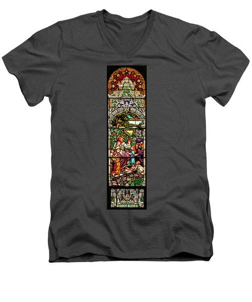 Men's V-Neck T-Shirt featuring the photograph Stained Glass Scene 12 Crop by Adam Jewell