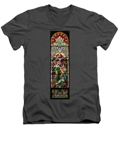 Men's V-Neck T-Shirt featuring the photograph Stained Glass Scene 5 Crop by Adam Jewell