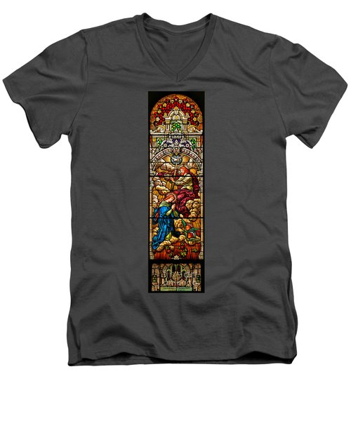 Men's V-Neck T-Shirt featuring the photograph Stained Glass Scene 8 by Adam Jewell