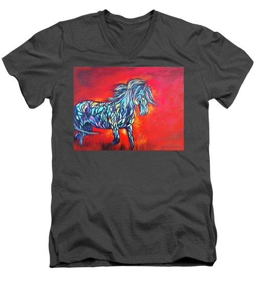 Stained Glass Stallion Men's V-Neck T-Shirt