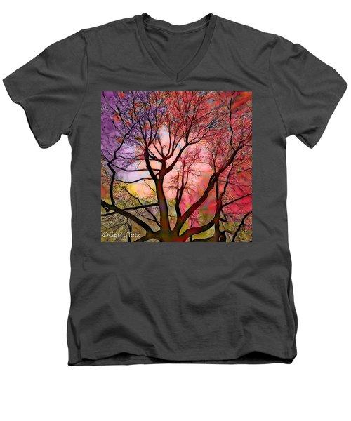 Stained Glass Sunrise 2 Men's V-Neck T-Shirt