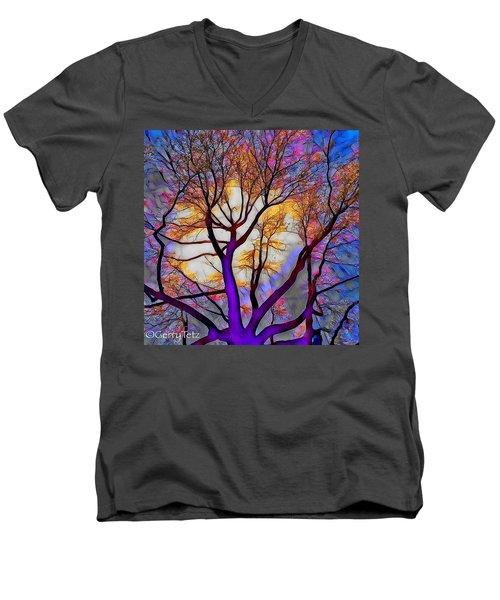 Stained Glass Sunrise Men's V-Neck T-Shirt