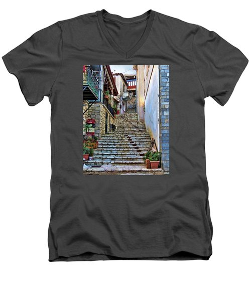 Stairs On Greek Island Men's V-Neck T-Shirt