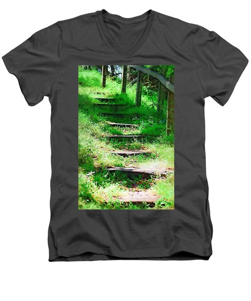 Men's V-Neck T-Shirt featuring the photograph Stairway To Heaven by Donna Bentley