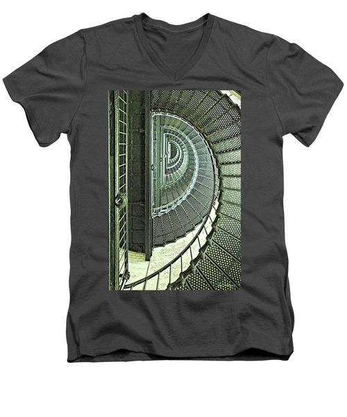 Stairwell Currituck Beach Lighthouse Men's V-Neck T-Shirt