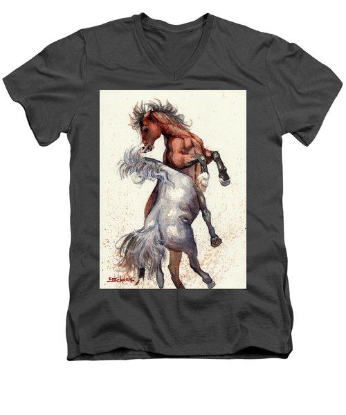 Stallion Showdown Men's V-Neck T-Shirt by Margaret Stockdale