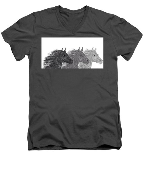 Men's V-Neck T-Shirt featuring the drawing Stallions Shades by Nick Gustafson