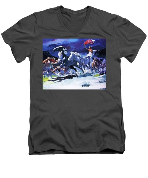 Stampede By Moonlight Men's V-Neck T-Shirt