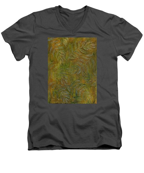 Stamped Textured Leaves Men's V-Neck T-Shirt