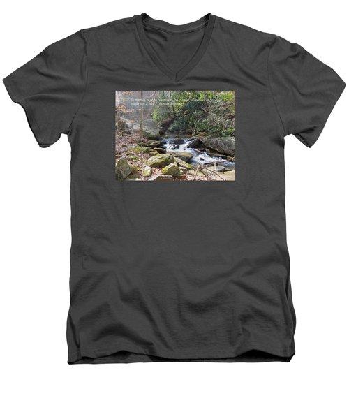 Stand Like A Rock Men's V-Neck T-Shirt by Deborah Dendler