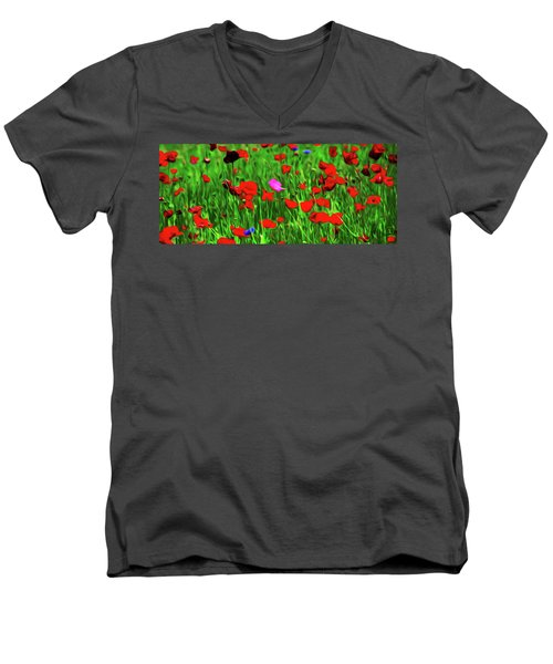 Men's V-Neck T-Shirt featuring the digital art Stand Out by Timothy Hack