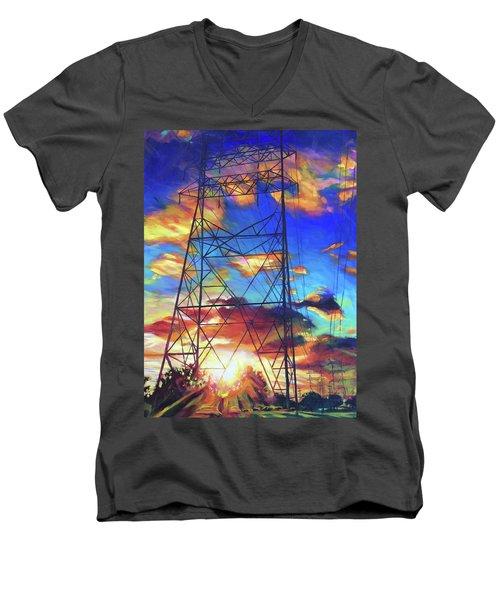 Stand Tall Men's V-Neck T-Shirt by Bonnie Lambert
