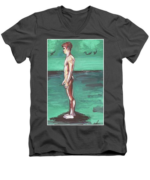 Standig On A Cold Beach With Hesitation  Men's V-Neck T-Shirt
